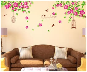 Wall Stickers Sofa Background Branches and Green Leaves with Cages Birds and Love Quote Vinyl