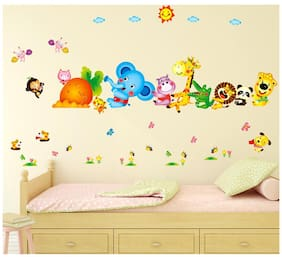 Wall Stickers Kids Room Happy Cute Elephant Monkey Cartoon Animals for Baby Room Nursery Design Jungle Theme Vinyl