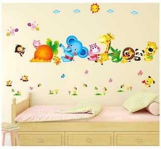 Wall Stickers Kids Room Happy Cute Elephant Monkey Cartoon Animals for Baby Room Nursery Design Jungle Theme Vinyl