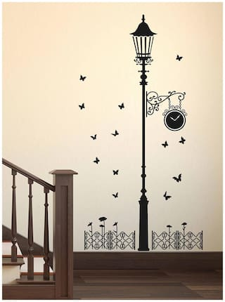 Wall Stickers Black Antique Street Lamp with Butterflies