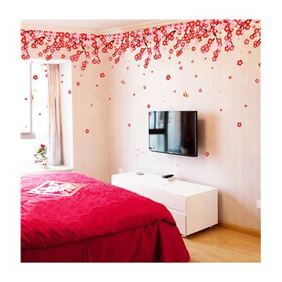 Wall Stickers Flowers Pink U0026 Red Romantic Cherry Wedding Decoration Living  Room Backdrop