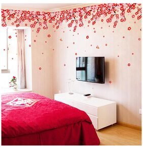 WallTola Flowers Pink & Red Romantic Cherry Wedding Decoration Living Room Backdrop Wall Stickers