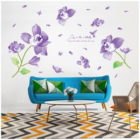 Wall Sticker Living Room Purple Flower In The Air with Love Quote