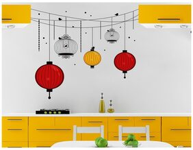 Wall Stickers Chinese Hanging Light Lamps And Bird Cage For Living Room And Kitchen Diwali Decor Vinyl