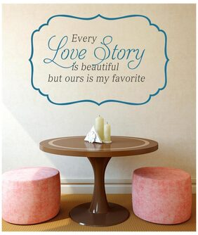 Wall Stickers Quote Every Love Story is Beautiful Bedroom Living Room Vinyl