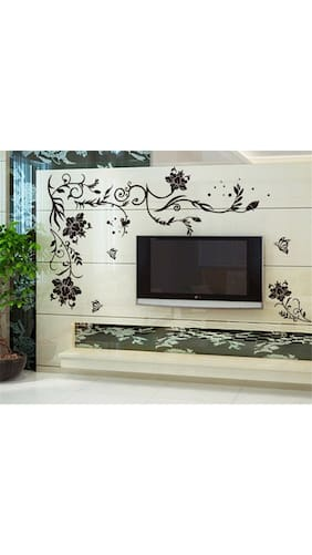 Wall Stickers For Living Room Black Large Size Floral Vine Butterflies Corner Sofa TV Background Decal