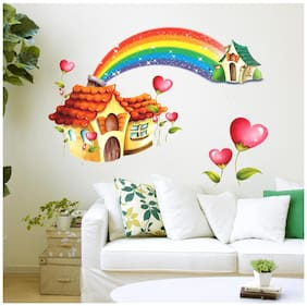 Wall Stickers Nursery Room Cartoon Hut with Rainbow for Kids Baby Room Design