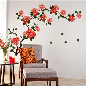 Wall Stickers Floral Branch Sofa Living Room Background Antique Flowers Vinyl Art