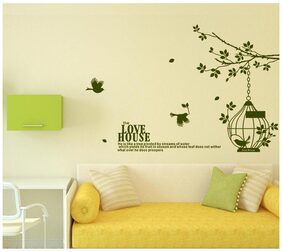 Wall Stickers Branch with Cage and Birds in Dark Green and Love House Wall Quote Sofa Background