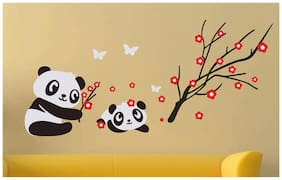 Wall Stickers Animal Panda With Baby Butterflies and Red Flowers for Children Room