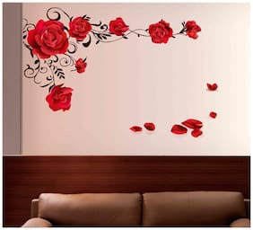 Wall Stickers Rose Flowers with Vine Blowing on My Wall for Bedroom De cor