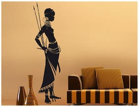 Wall Wings African Tribal Woman With Typical Tribal Ornaments & Arrows Abstract - Vector Art Modern Art Wall Sticker/Decals (1085)