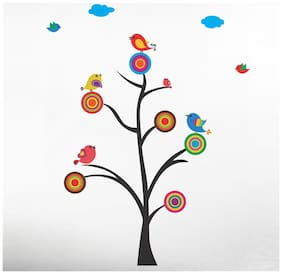 Wall Wings Animation Art - Vector Art Birds On Tree With Rounds & Circles As Flowers Kids Wall Stickers/Decals (57130)