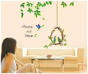 Wall Wings Always Forever Birds Nest and Leaves Wall Sticker