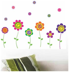 Wall Wings Assorted Daisy Flowers In Vector Art Style Wall Sticker/Decals (5743)