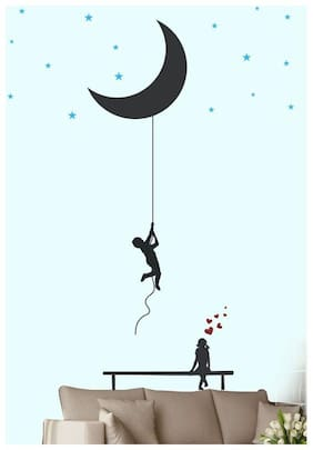 Wall Wings Bringing The Moon With A Rope As A Gift For My Lover Valentine's Day Gifting Wall Sticker
