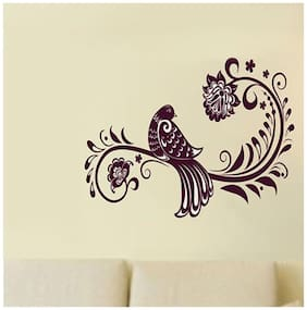 Wall Wings Bird On Floral Branch Vector Art In Embroidery Design Abstract Art Wall Sticker/Decals (6451)