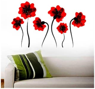 Wall Wings Bright Blood Red Bloom With Black Stalk Abstract - Vector Art D cor Wall Stickers/Decals (5779)
