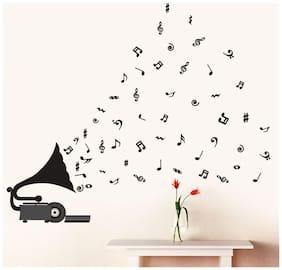 Wall Wings Black Saxophone With Music Notes in Abstract Vector Modern Art Wall Sticker