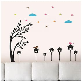Wall Wings Bird House Under The Clouds Animatiion Wall Sticker/Decals (6965)
