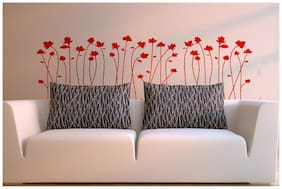 Wall Wings Burnt Orange & Red Lilly Flowers Buds Silhouette D cor Abstract Vector Art Wall Sticker/Decals (5773)