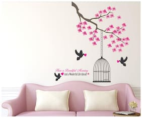 Wall Wings Beautiful flowers with a cage Wall Sticker/Stickers