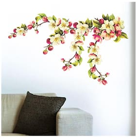 Wall Wings Beautiful Floral Vines Flowers In Shades Of Cream Yellow Pink & Dashing Green Leaves Wall Sticker/Decals (57115)