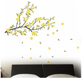 Wall Wings Beautiful Spring Yellow Flowers With Pleasant Leaves From Tree Branch & Falling Leaves & Flowers Wall Sticker/Decals (57134)