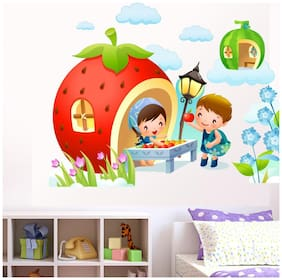 wall wings Cute babies with fruit stall Cartoon characters Cartoon characters PVC  Sticker