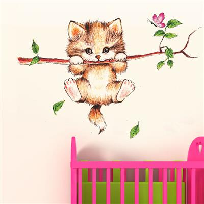 Wall Wings Cute Kitty Cat Clinging On A Branch With Pink Butterfly U0026  Falling Leaves Abstract Part 55