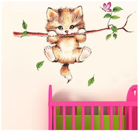 Wall Wings Cute Kitty Cat Clinging On A Branch With Pink Butterfly & Falling Leaves Abstract Cartoon Animation Art Wall Sticker/Decals (6410)