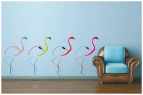 Wall Wings Colorful Flamingos Birds In A Row Modern Art Wall Sticker