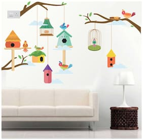 wall wings Colorful Birds Home Floral Floral PVC  Sticker