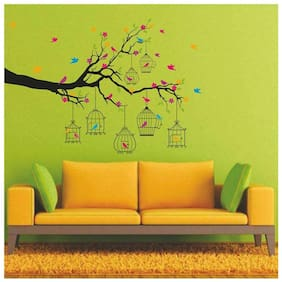 Wall Wings Colourful Love Birds Cages On Tree Branch Wall Sticker