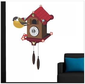 wall wings Clock with kiwi Floral Floral PVC  Sticker
