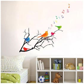 Wall Wings Colourful Birds On Branch Singing Notes Abstract - Vector Art Sticker/Decals (5736)