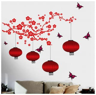 Wall Wings Chinese Lanterns And Lamps In Attractive Bright Red Shades With Pink Butterflies Flying Around (180x175 cm)