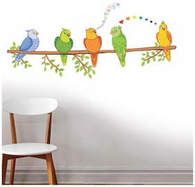 Wall Wings Colourful Cute Parakeet Parrots On A Branch Singing In Love Heart Symbol Abstract Art Animation Wall Sticker/Decals (6422)
