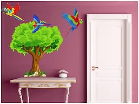 wall wings Colorful parrot in a tree Nature Nature PVC  Sticker