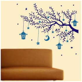 Wall Wings Celestial Tree Branch With Hanging Stars Moon Cages In Purple & Blue Abstract Art - Vector Art Wall Sticker/Decals (5731)