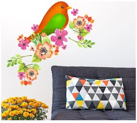 Wall Wings Colorful Kiwi Bird with flowers Wall Sticker/Stickers