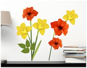 Wall Wings Colourful yellow and orange flowers Wall Sticker/Stickers