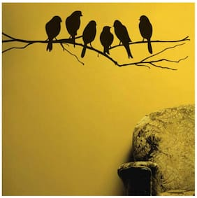 Wall Wings Cute Branchmates Best Friends Lovely Birds On A Branch Silhouette Art Vector/Abstract Wall Sticker/Decals (6201)