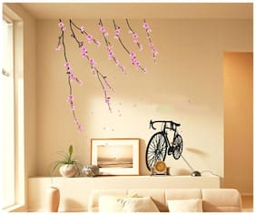 Wall Wings Cycle Standing With Floral Pink Flower Vines In Bright Colour Vector/Abstract Wall Stick er/Decals (6801)