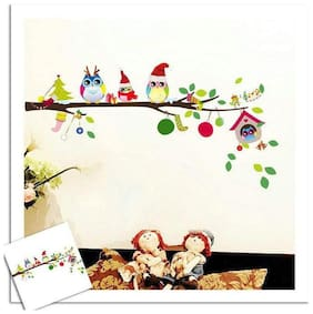 Wall Wings Cute Owl Family Celebrating Christmas With Gifts In Winter Outfit On A Tree Branch Wall Sticker