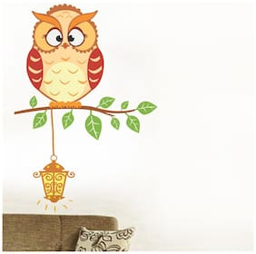 Wall Wings Chubby Owl With Long Eyebrows On A Tree Branch With Hanging Lamp Abstract - Vector Animation Art Wall Sticker/Decals (6409)