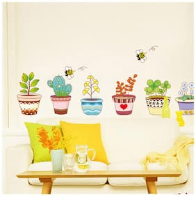 Wall Wings Clay Flower Pots With Cute Kid Art On It With Drawings & Little Colourful Plants Cactus Yellow Flower Dandelion honey bees Wall Sticker/Decals (732)