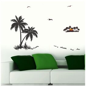 Wall Wings Coconut Trees Silhoute Art In Sunset Bacground Abstract - Vector Art Wall Sticker/Decals (57113)