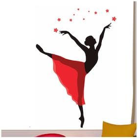 Wall Wings Dancing Girl (Ballet Pose) In Red Skirt Abstract Art/Vector Art Wall Sticker/Decals (5787)