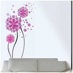 Wall Wings Daisy Flower (Pink) Small & Large Bunch For Girls Room Vector Art Sticker/Decals (5741)